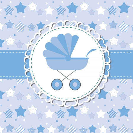 new born baby: illustration of BLUE baby carriage for newborn boy Illustration