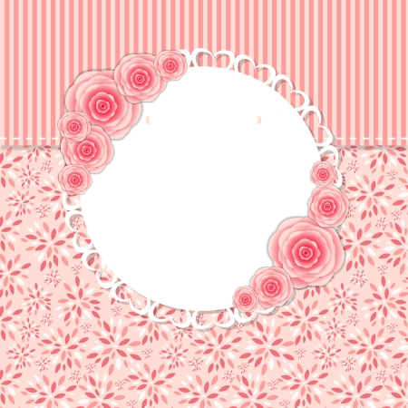 Cute Frame with Rose Flowers Illustration. Vector