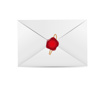 White Envelope Icon with Wax Seal Illustration Vector