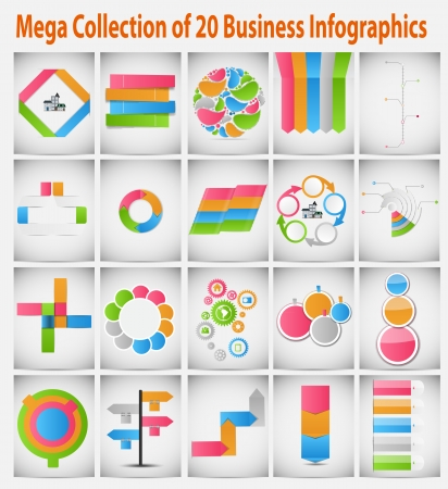 Mega collection infographic template business concept illustration Vector