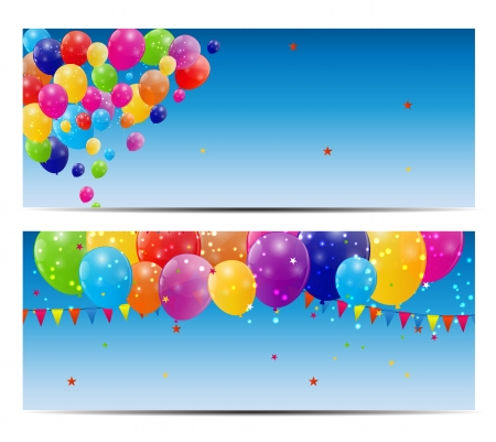 party balloons: Color glossy balloons card background illustration Illustration