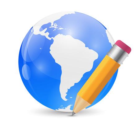 syndication: L�piz Amarillo y Globo Publicar Icono Ilustraci�n