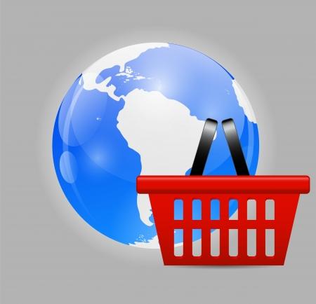 troley: Global Shopping Concept illustration