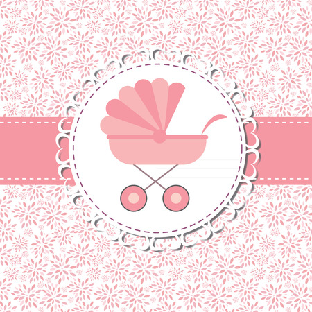 baby carriage: Illustration of Pink Baby Carriage for Newborn Girl