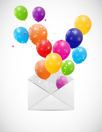 Envelope with Balloons Illustration Vector
