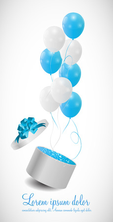 Color Glossy Balloons in Gift Box Background Vector Illustration Vector