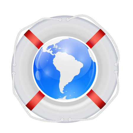 Globe in Lifebuoy Illustration. Vector