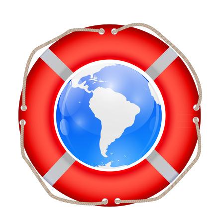 Globe in Lifebuoy Illustration.