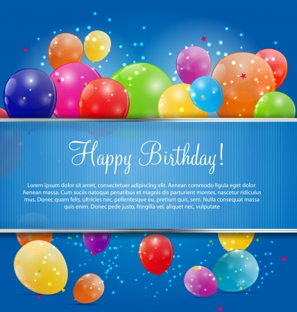 balloons party: Color glossy balloons background illustration