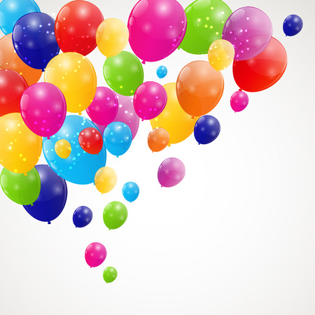 Color glossy balloons background illustration Vector