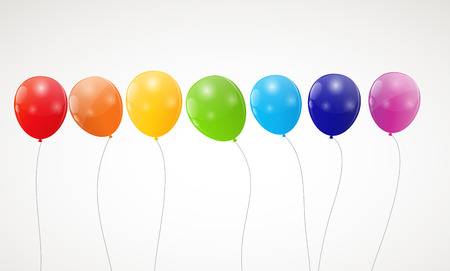Color glossy rainbow balloons background illustration Vector