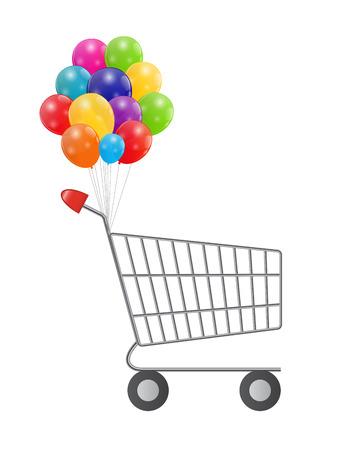 supermarket shopping cart: Ilustraci�n de vac�o Supermarket Compras con globos