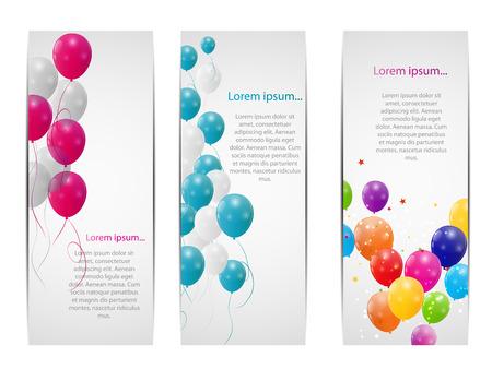 Farbe Glossy Ballone Grußkarte Hintergrund Illustration Standard-Bild - 25080171