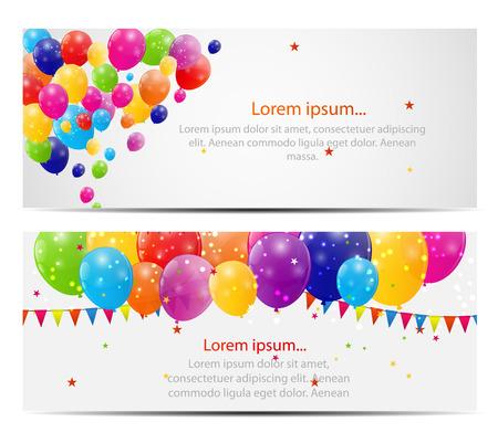 Kleur Glossy Ballonnen kaart achtergrond Illustratie