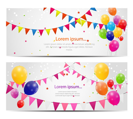 birthday border: Color Glossy Balloons Card Background Illustration