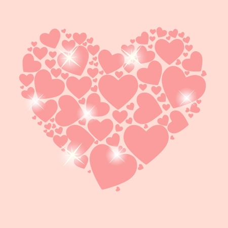 couple lit: Valentines day heart background illustration Illustration