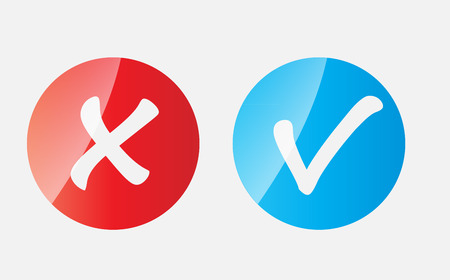 Red and Blue Check Mark Icons Stock Vector - 25079131