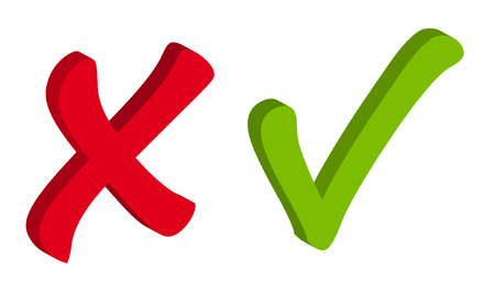 Rood en groen vinkje Pictogrammen