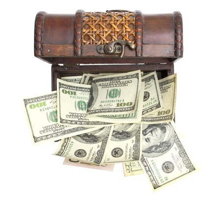 transfer pricing: Hundred-dollar bills at chest box on a white . Stock Photo