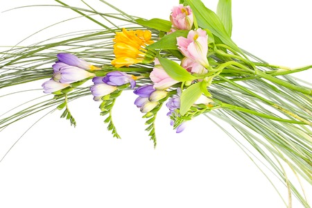 Colorful flowers bouquet isolated on white . photo