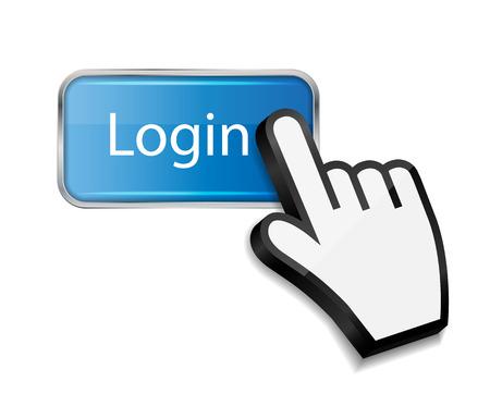 Muis de hand cursor op de login knop vector illustratie Stock Illustratie