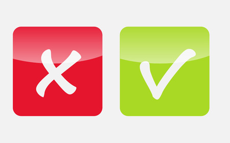 Vector Red and Green Check Mark Icons Stock Vector - 25247474