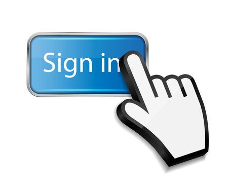 sign in: Maus-Hand-Cursor auf Zeichen in Schaltfl�che Vektor-Illustration