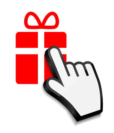 Mouse hand cursor on gift vector illustration Vector