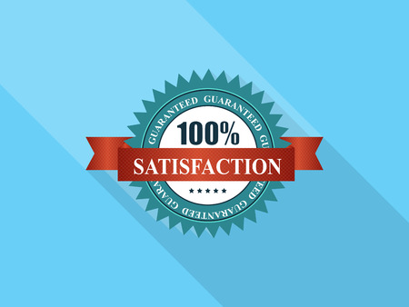 awards ceremony: 100% Satisfaction  Label with Red Ribbon.