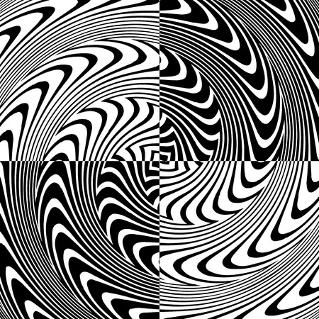 Black and White Hypnotic Background. Vector Illustration. Vector