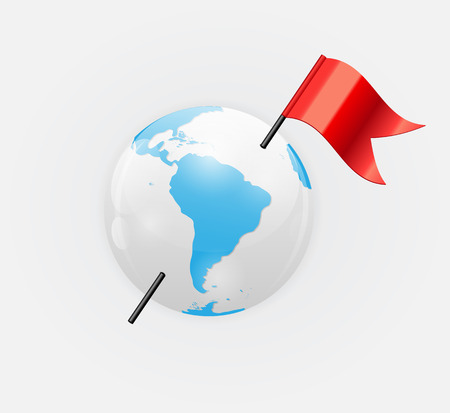 Earth Planet Icon with Red Flag Vector Illustration Vector