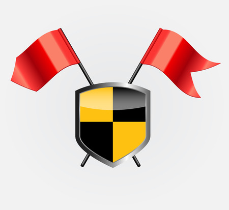crusades: Protective Shield with Red Flags Vector Illustration
