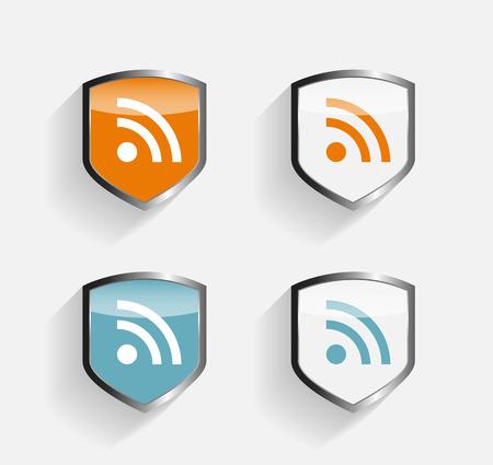 shield set: RSS Shield Set Vector Illustration