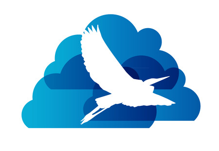 Natural Sign with Stork and Cloud Vector Illustration Illustration