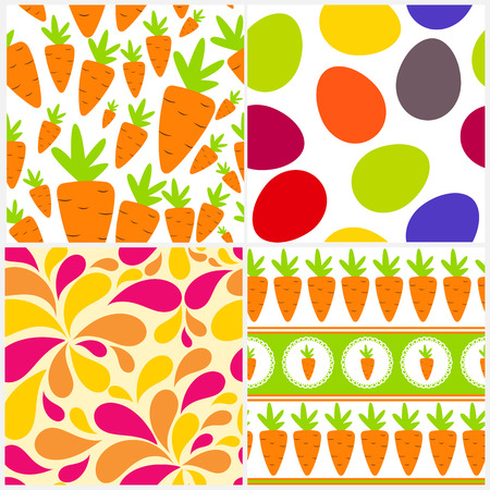 Easter Seamless Pattern Background Set Vector Illustration Vector