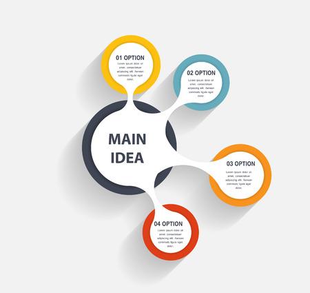 organigrama: Infografía plantilla de ilustración vectorial de negocio Vectores