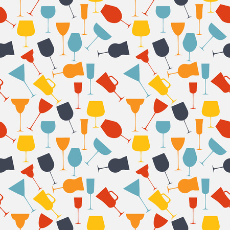 Seamless background pattern of retro alcoholic glass. Vector