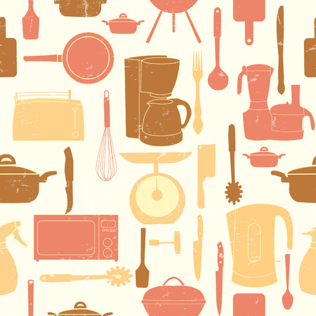 urea: Grunge Retro illustration seamless pattern of kitchen tools for cooking