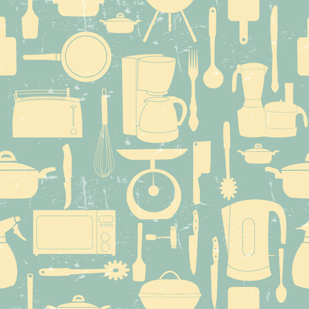 Grunge Retro illustration seamless pattern of kitchen tools for cooking