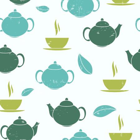 Tea Seamless Pattern Background Vector Illustration Vector