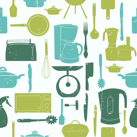 urea: Grunge Retro vector illustration seamless pattern of kitchen tools for cooking