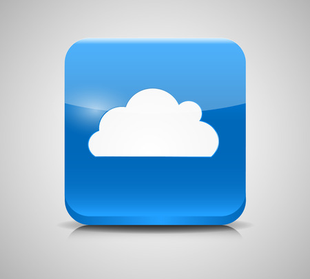 icloud: Vector Glass Button with Cloud Icon Illustration