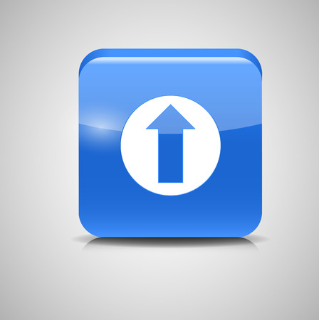 Glass Upload Button Icon Vector Illustration Vector