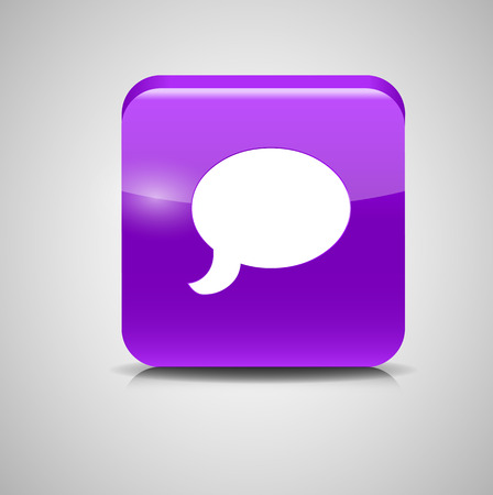 Glass Chat Button Vector Illustration Vector