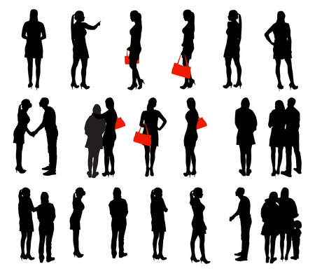 Set of Silhouette People. Vector Illustration Vector