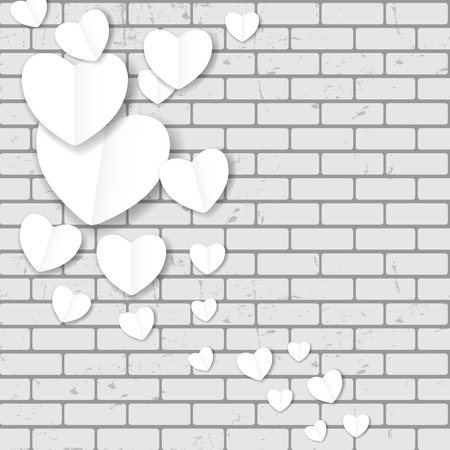 Valentines day paper heart backgroung, vector illustration. Vector