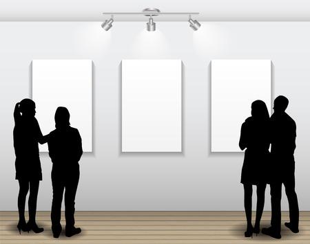 Ludy Sylwetki Patrząc na puste ramki w galerii sztuki dla obrazów i Reklamy. Ilustracja wektorowa
