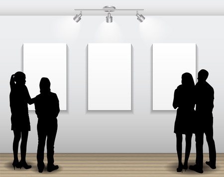 presentation display: Peoples Silhouettes Looking on the Empty Frame in Art Gallery for Images and Advertisement. Vector Illustration