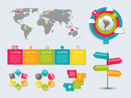 Collection of Infographic Templates for Business Vector Illustration. Vector