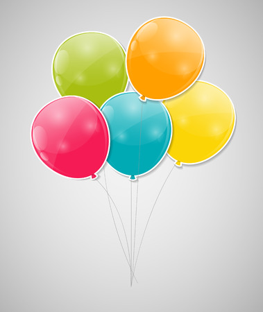 Color Glossy Balloons Background Vector Illustration. Vector